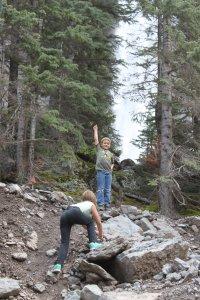 Mikaylah & Caiden climbing rocks at Bridal Veil Falls