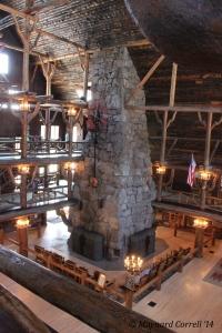 The massive fireplace inside the Old Faithful Inn